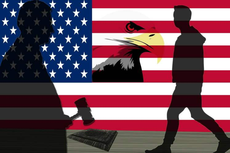 An American flag background with a judge banging a gavel on a book, a person walking, and a bald eagle.